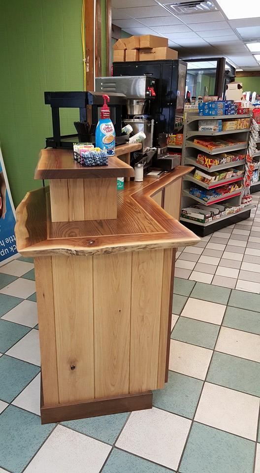 Conveniene store custom wood counter