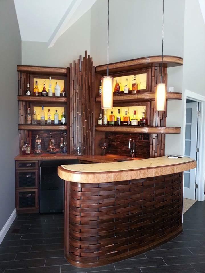 Custom woven wood bar in customers house