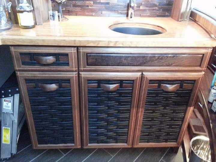 Bar with woven front doors