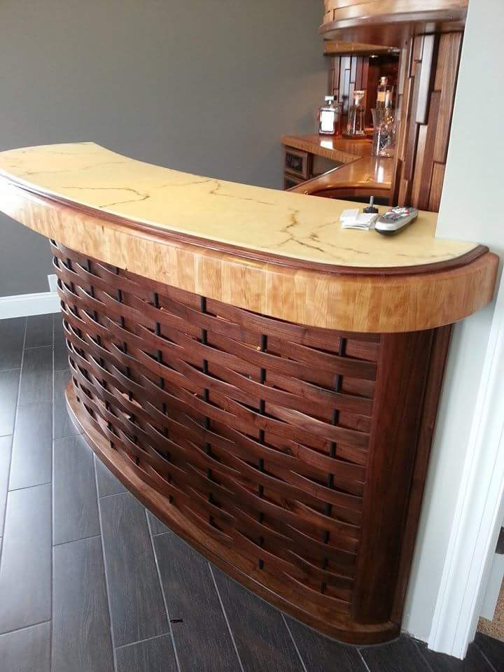 Custom bar with woven front