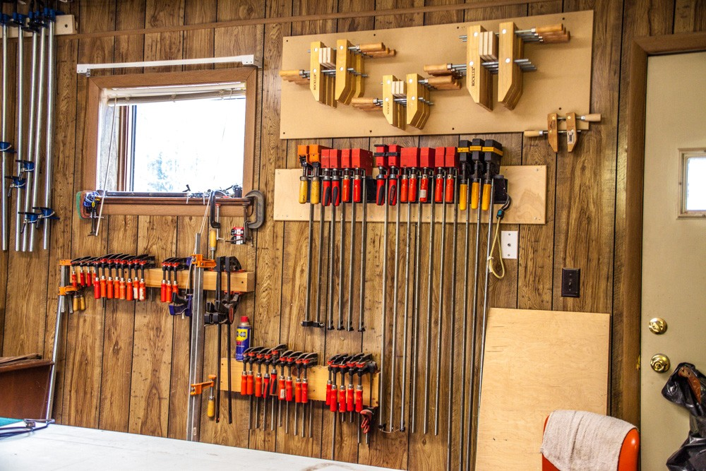 Tools hanging neatly on a wall in the shop