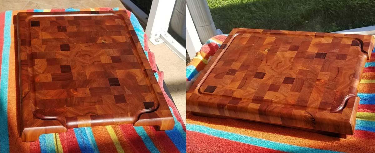 Cutting board after refurbishing, looking brand new
