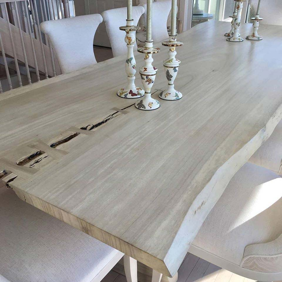 Bleached-Parota table top with candles