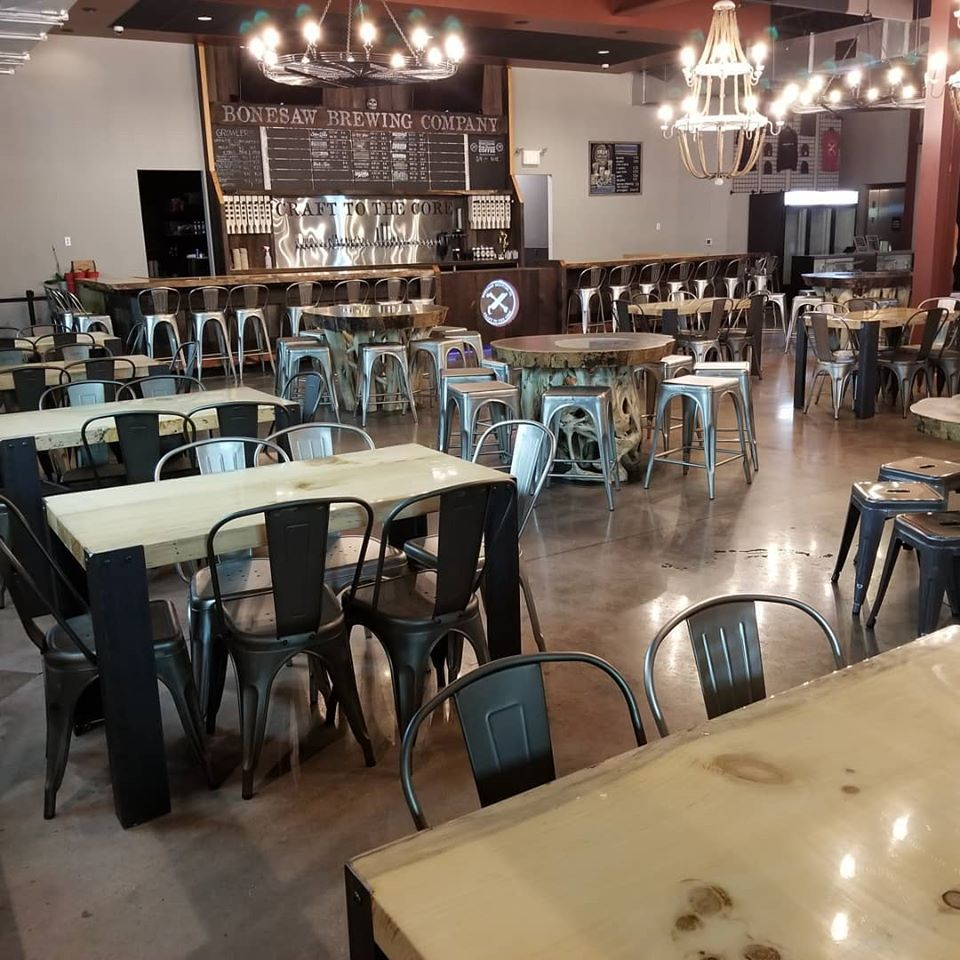 Overview of Bonesaw Brewing with tables and chairs