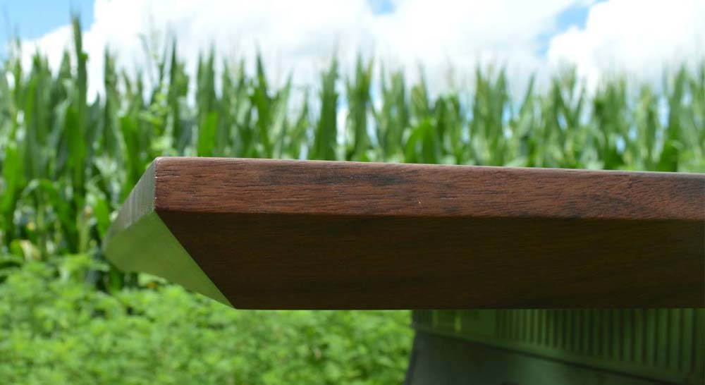 Black oak tabletop wth beveled edge